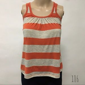Soprano Orange Striped Tank Top XS (186)